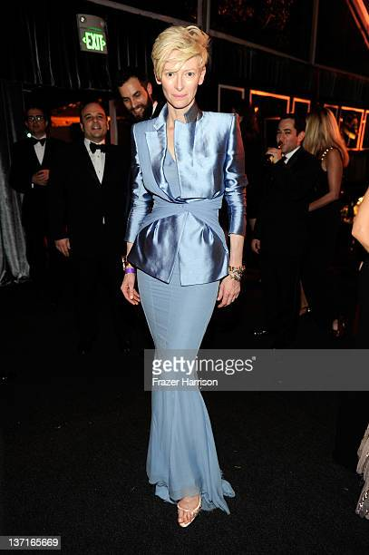 Actress Tilda Swinton attends The Weinstein Company's 2012 Golden Globe Awards After Party at The Beverly Hilton hotel on January 15 2012 in Beverly...