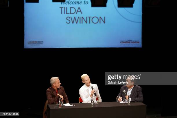 Actress Tilda Swinton attends 'Welcome to Tilda Swinton' master class during 9th Film Festival Lumiere on October 16 2017 in Lyon France
