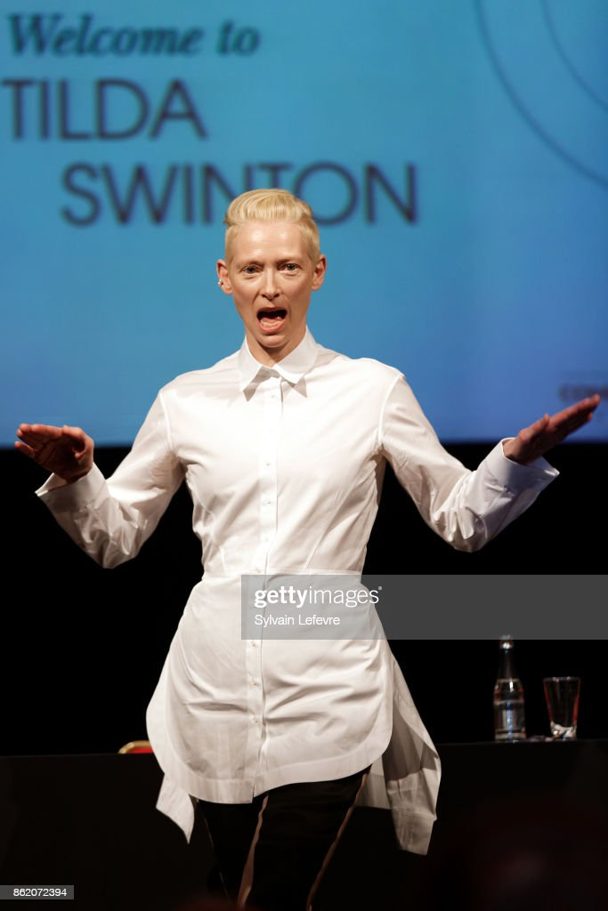 Actress Tilda Swinton attends 'Welcome to Tilda Swinton' master class during 9th Film Festival Lumiere on October 16, 2017 in Lyon, France.