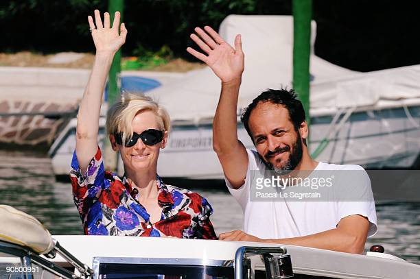 Actress Tilda Swinton director Luca Guadagnino are seen leaving during the 66th Venice Film Festival on September 9 2009 in Venice Italy