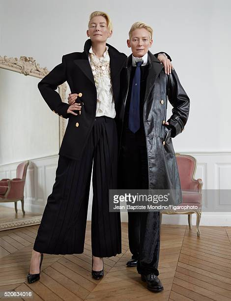 Actress Tilda Swinton is photographed for Madame Figaro on February 6 2016 in Paris France Left Coat blouse pants necklace shoes Right Trench collar...