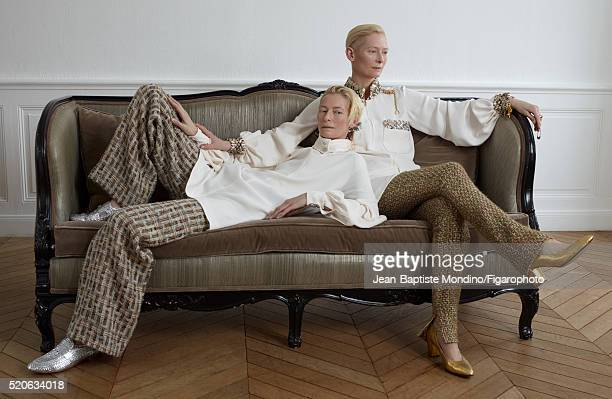 Actress Tilda Swinton is photographed for Madame Figaro on February 6 2016 in Paris France Left Blouse pantalon and mocassins Right Blouse pants and...