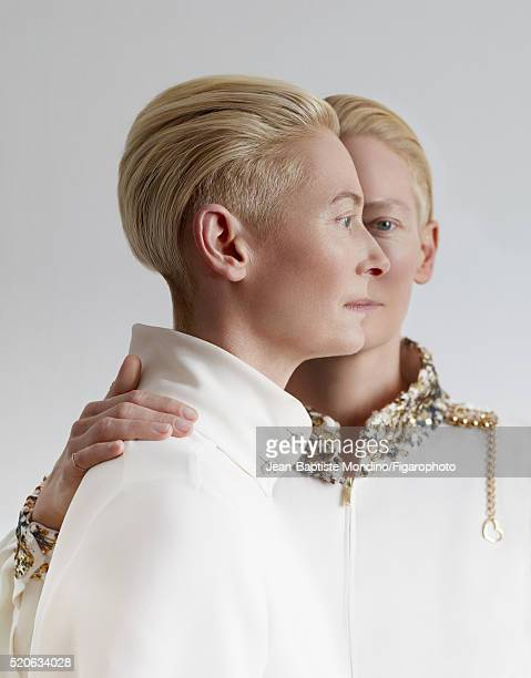 Actress Tilda Swinton is photographed for Madame Figaro on February 6 2016 in Paris France Blouses pin COVER IMAGE CREDIT MUST READ JeanBaptiste...