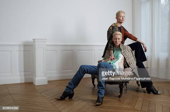 Actress Tilda Swinton is photographed for Madame Figaro on February 6 2016 in Paris France Left Coat and vest shirt and boots jeans bag Right Coat...