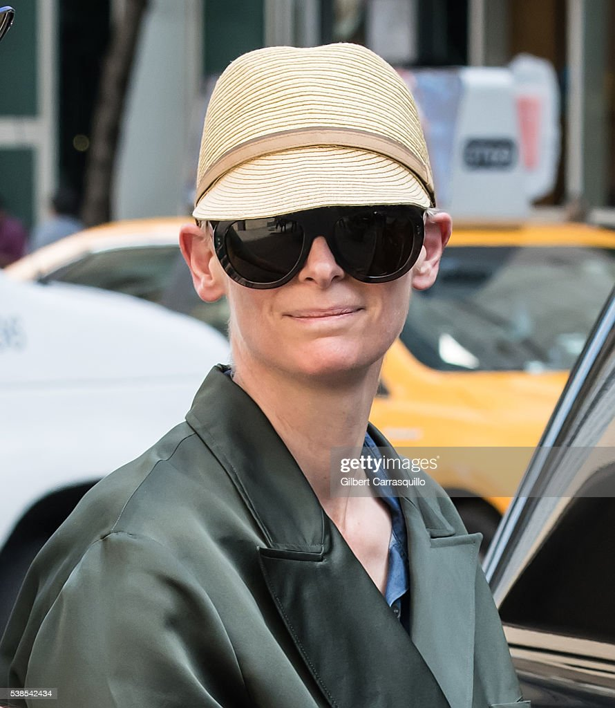 Actress Tilda Swinton is seen leaving rehearsals prior to honoring David Bowie with Board of Directors Tribute at the 2016 CFDA Fashion Awards at the...