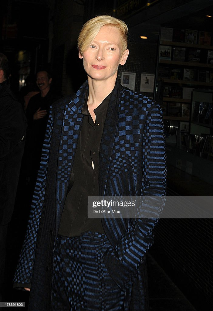Actress <a gi-track='captionPersonalityLinkClicked' href=/galleries/search?phrase=Tilda+Swinton&family=editorial&specificpeople=202991 ng-click='$event.stopPropagation()'>Tilda Swinton</a> is seen on March 12, 2014 in New York City.