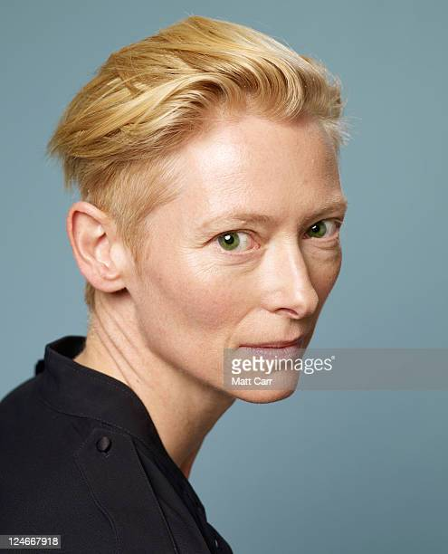 Actress Tilda Swinton of 'We Need To Talk About Kevin' poses during the 2011 Toronto Film Festival at Guess Portrait Studio on September 11 2011 in...