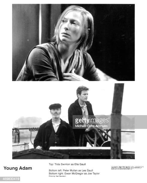 Actress Tilda Swinton on set actors Peter Mullan and Ewan McGregor on set of the movie 'Young Adam ' circa 2003