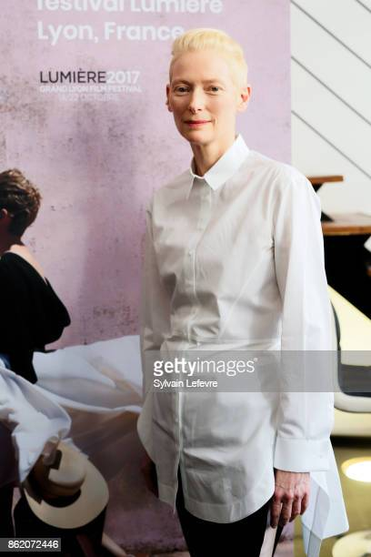 Actress Tilda Swinton poses after 'Welcome to Tilda Swinton' master class during 9th Film Festival Lumiere on October 16 2017 in Lyon France