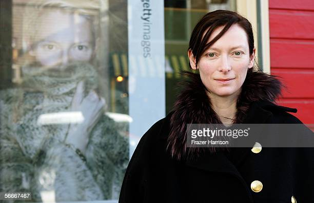 Actress Tilda Swinton poses for photos on Main Street during the 2006 Sundance Film Festival January 25 2006 in Park City Utah