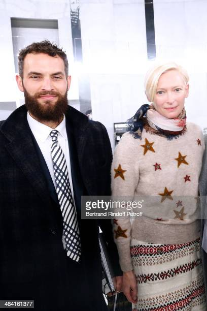Actress Tilda Swinton with her husband Sandro Kopp pose backstage after the Chanel show as part of Paris Fashion Week Haute Couture Spring/Summer...