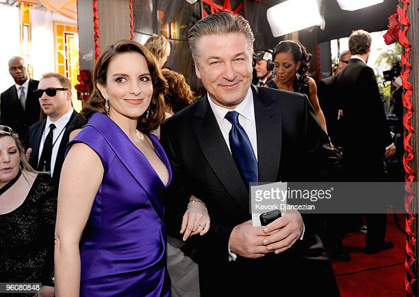 Actress Tina Fey and actor Alec Baldwin arrive at the 16th Annual Screen Actors Guild Awards held at the Shrine Auditorium on January 23 2010 in Los...