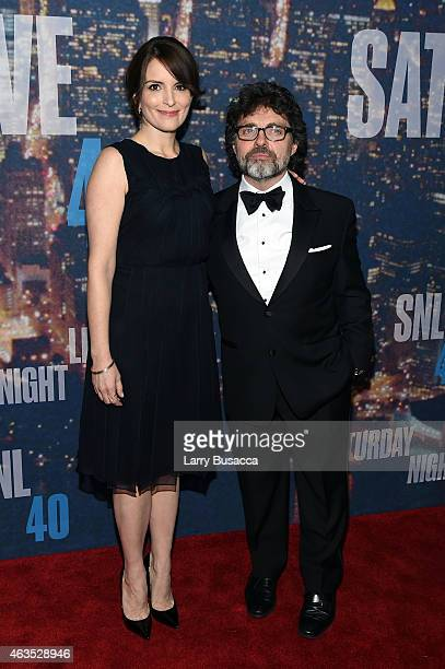 Actress Tina Fey and Jeff Richmond attend SNL 40th Anniversary Celebration at Rockefeller Plaza on February 15 2015 in New York City