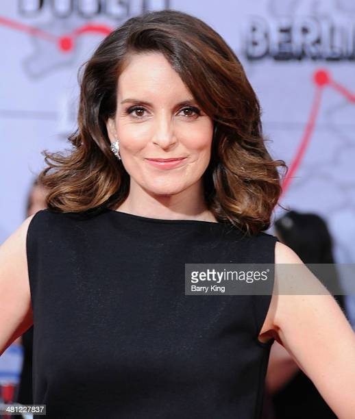 Actress Tina Fey arrives at the Los Angeles premiere of 'Muppets Most Wanted' on March 11 2014 at the El Capitan Theatre in Hollywood California