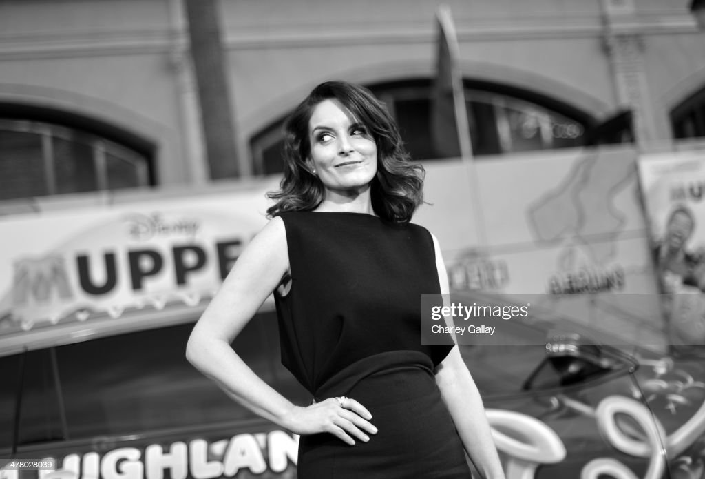 Actress <a gi-track='captionPersonalityLinkClicked' href=/galleries/search?phrase=Tina+Fey&family=editorial&specificpeople=206753 ng-click='$event.stopPropagation()'>Tina Fey</a> arrives at the world premiere of Disney's 'Muppets Most Wanted' at the El Capitan Theatre on March 11, 2014 in Hollywood, California.