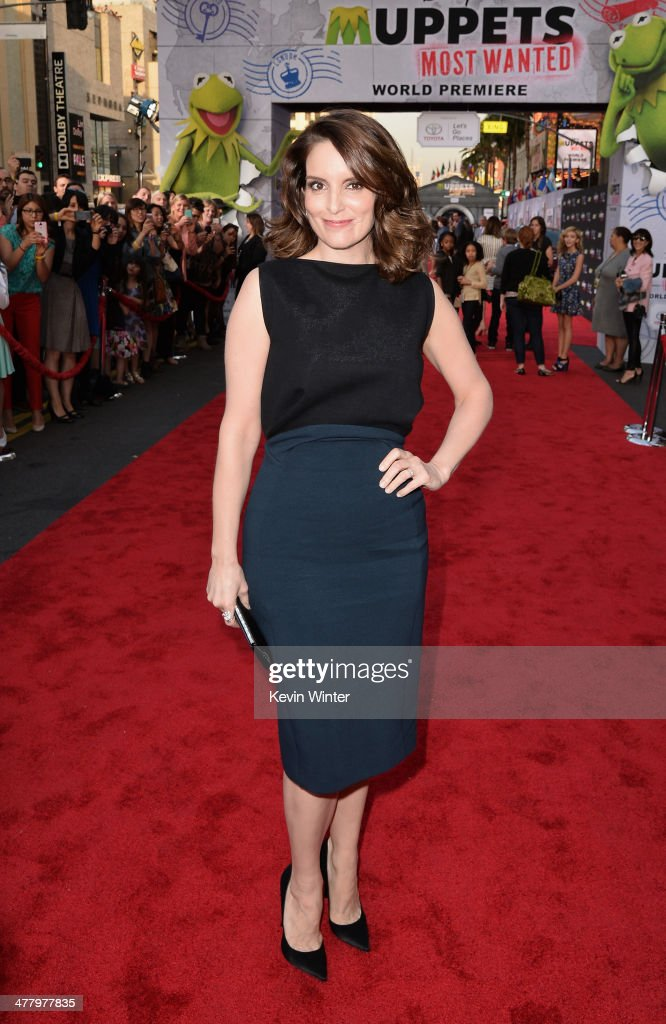 Actress <a gi-track='captionPersonalityLinkClicked' href=/galleries/search?phrase=Tina+Fey&family=editorial&specificpeople=206753 ng-click='$event.stopPropagation()'>Tina Fey</a> arrives for the premiere of Disney's 'Muppets Most Wanted' at the El Capitan Theatre on March 11, 2014 in Hollywood, California.