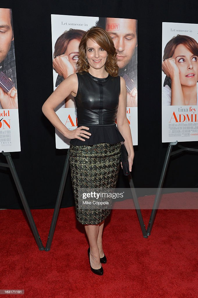 Actress <a gi-track='captionPersonalityLinkClicked' href=/galleries/search?phrase=Tina+Fey&family=editorial&specificpeople=206753 ng-click='$event.stopPropagation()'>Tina Fey</a> attends the 'Admission' New York Premiere at AMC Loews Lincoln Square 13 on March 5, 2013 in New York City.
