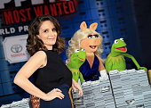 Actress Tina Fey Constantine Miss Piggy and Kermit the Frog arrive at the world premiere of Disney's 'Muppets Most Wanted' at the El Capitan Theatre...