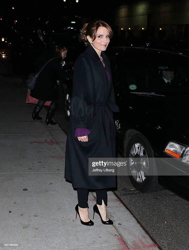 Actress Tina Fey departs 'Late Show with David Letterman' at Ed Sullivan Theater on February 26, 2013 in New York City.