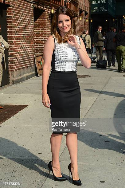 Actress Tina Fey leaves the 'Late Show With David Letterman' taping at the Ed Sullivan Theater on August 21 2013 in New York City