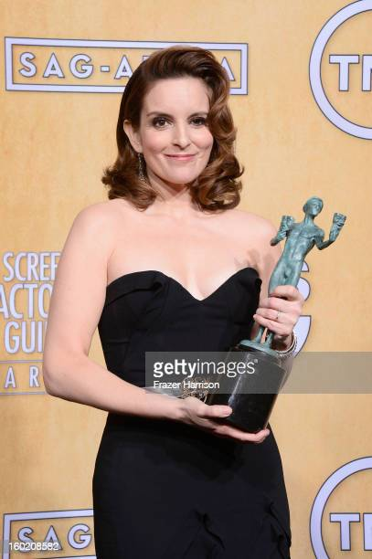 Actress Tina Fey winner of Outstanding Performance by a Female Actor in a Comedy Series for '30 Rock' poses in the press room during the 19th Annual...
