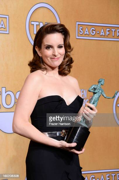 Actress Tina Fey winner Outstanding Performance by a Female Actor in a Comedy Series for '30 Rock' poses in the press room during the 19th Annual...
