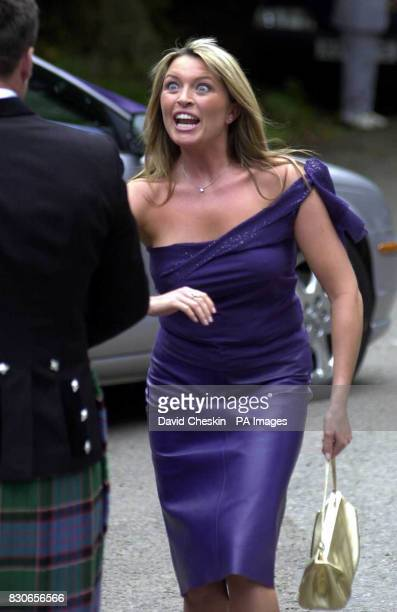 Actress Tina Hobley arrives at the wedding of rugby player Kenny Logan and TV presenter Gabby Yorath at Logie Kirk in Blairlogie near Stirling