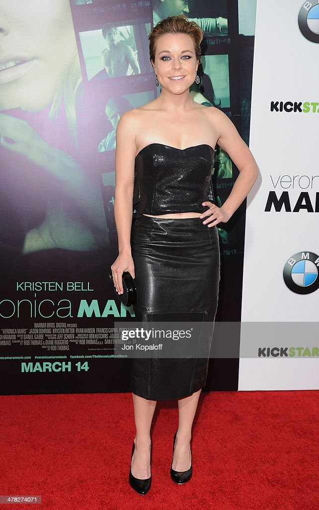 Actress <a gi-track='captionPersonalityLinkClicked' href=/galleries/search?phrase=Tina+Majorino&family=editorial&specificpeople=234751 ng-click='$event.stopPropagation()'>Tina Majorino</a> arrives at the Los Angeles premiere 'Veronica Mars' at TCL Chinese Theatre on March 12, 2014 in Hollywood, California.