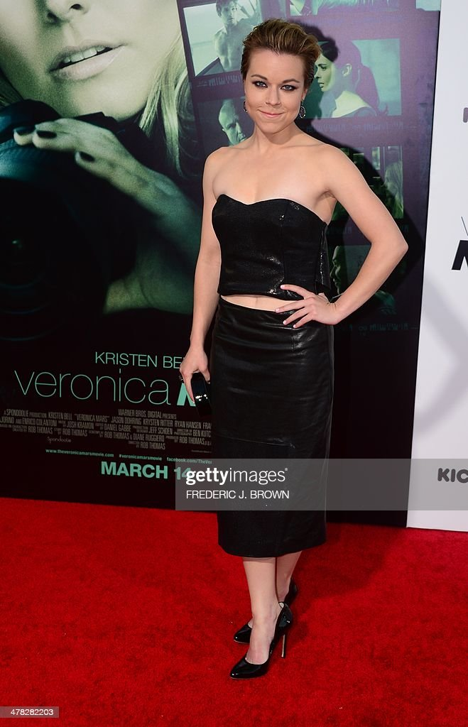Actress Tina Majorino poses on arrival for the film premiere of 'Veronica Mars' in Hollywood, California on March 12, 2014. The film opens on March 14. AFP PHOTO/Frederic J. BROWN
