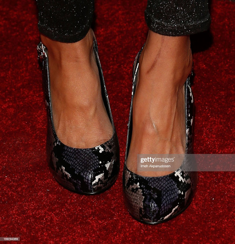 Actress Tinsel Korey (shoe detail) attends the Markus + Indrani ICONS Book Launch Party at Merry Karnowsky Gallery on January 10, 2013 in Los Angeles, California.