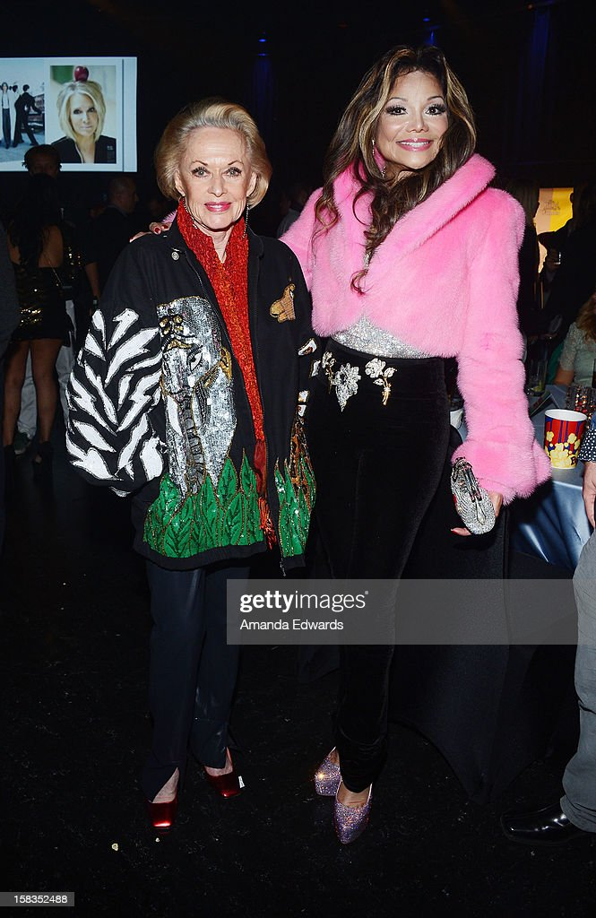 Actress <a gi-track='captionPersonalityLinkClicked' href=/galleries/search?phrase=Tippi+Hedren&family=editorial&specificpeople=208696 ng-click='$event.stopPropagation()'>Tippi Hedren</a> (L) and singer La Toya Jackson attend the World Of Wonder book release party/birthday bash at The Globe Theatre at Universal Studios on December 13, 2012 in Universal City, California.