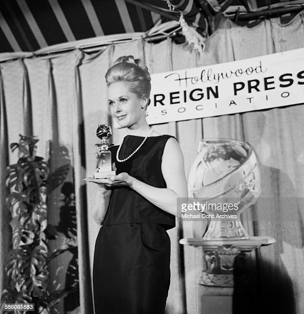 Actress Tippi Hedren with Golden Globe for winning 'Most Promising Newcomer' during the Foreign Press Awards in Los Angeles California