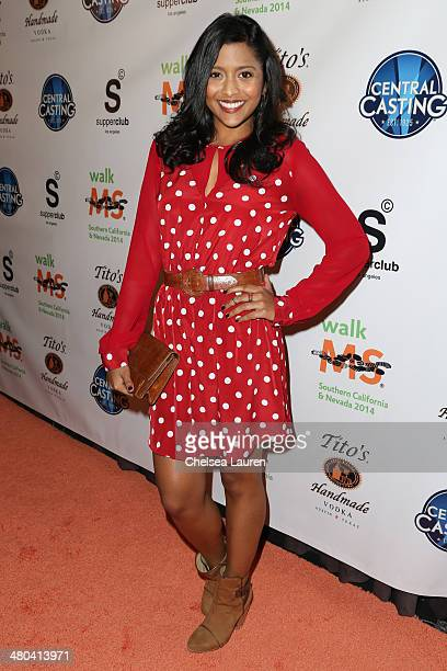Actress Tiya Sircar arrives at the LA celebrity MS Walk kickoff event at SupperClub Los Angeles on March 24 2014 in Los Angeles California