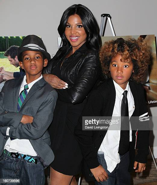 Actress Toni Braxton and her sons Denim Cole BraxtonLewis and Diezel Ky BraxtonLewis attend the premiere screening of 'Twist of Faith' at the Stephen...