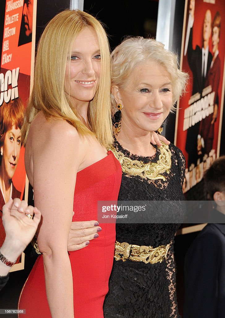 Actress Toni Collette and actress Helen Mirren arrive at the Los Angeles Premiere 'Hitchcock' at AMPAS Samuel Goldwyn Theater on November 20, 2012 in Beverly Hills, California.