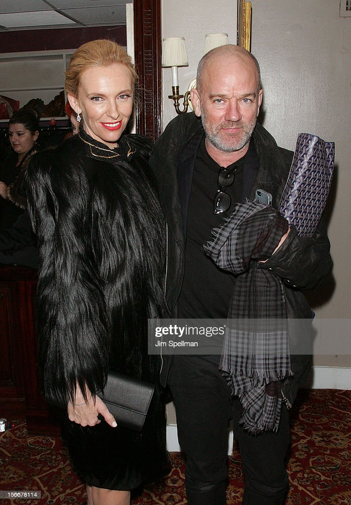 Actress Toni Collette and musician Micael Stipe attend the 'Hitchcock' New York Premiere after party at on November 18, 2012 in New York City.