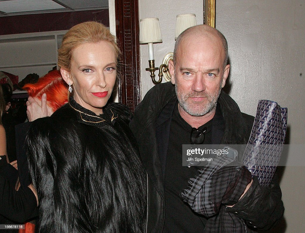 Actress <a gi-track='captionPersonalityLinkClicked' href=/galleries/search?phrase=Toni+Collette&family=editorial&specificpeople=204673 ng-click='$event.stopPropagation()'>Toni Collette</a> and musician Micael Stipe attend the 'Hitchcock' New York Premiere after party at on November 18, 2012 in New York City.