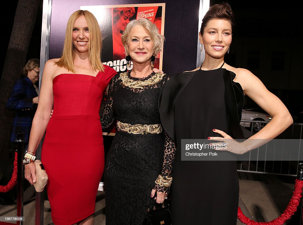 Actress Toni Collette, Dame Helen Mirren and actress Jessica Biel arrive at the premiere of Fox Searchlight Pictures' 'Hitchcock' at the Academy of Motion Picture Arts and Sciences Samuel Goldwyn Theater on November 20, 2012 in Beverly Hills, California.