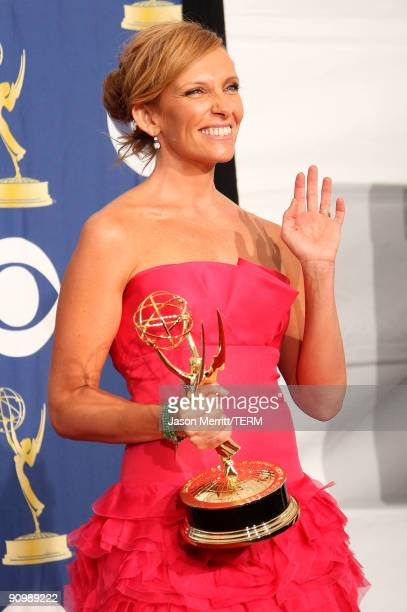 Actress Toni Collette poses in the press room with her Emmy for Outstanding Lead Actress in a Comedy Series for 'United States of Tara' at the 61st...