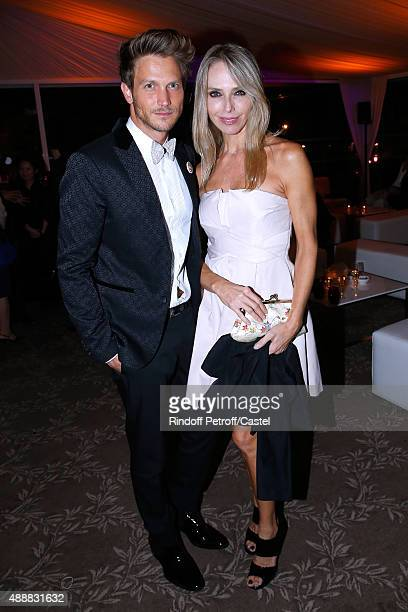 Actress Tonya Kinzinger and her companion Pierre Barbe attend the Kenzo Takada's 50 Years of Life in Paris Celebration at Restaurant Le Pre Catelan...