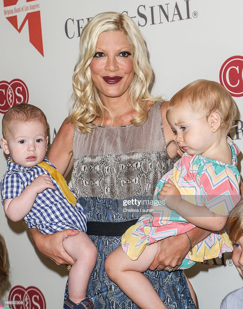 Actress <a gi-track='captionPersonalityLinkClicked' href=/galleries/search?phrase=Tori+Spelling&family=editorial&specificpeople=202560 ng-click='$event.stopPropagation()'>Tori Spelling</a> (C) and children Finn Davey McDermott (L) and Hattie Margaret McDermott (R) attend The Helping Hand of Los Angeles annual mother's day luncheon at Beverly Hills Hotel on May 10, 2013 in Beverly Hills, California.