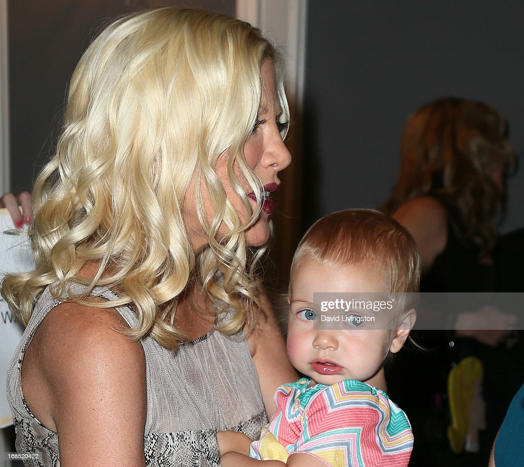 Actress <a gi-track='captionPersonalityLinkClicked' href=/galleries/search?phrase=Tori+Spelling&family=editorial&specificpeople=202560 ng-click='$event.stopPropagation()'>Tori Spelling</a> and daughter Hattie Margaret McDermott attend The Helping Hand of Los Angeles' Annual Mother's Day Luncheon at the Beverly Hills Hotel on May 10, 2013 in Beverly Hills, California.