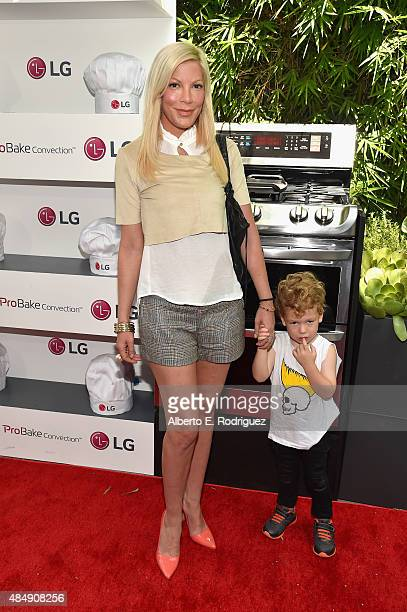 Actress Tori Spelling and Finn McDermott attend Eva Longoria and LG Electronics Host 'Fam To Table' Series at The Washbow on August 22 2015 in Culver...