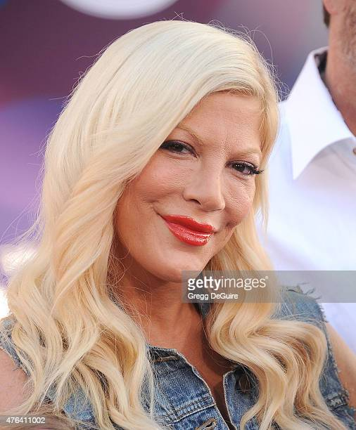 Actress Tori Spelling arrives at the Los Angeles premiere of Disney/Pixar's 'Inside Out' at the El Capitan Theatre on June 8 2015 in Hollywood...