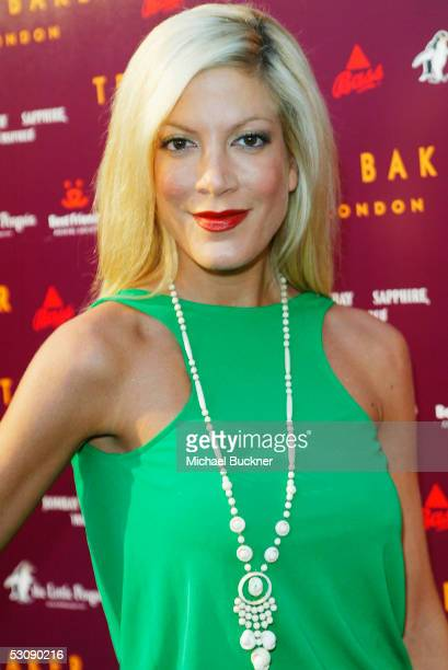 Actress Tori Spelling arrives at the Ted Baker Los Angeles store opening on June 16 2005 in Los Angeles California
