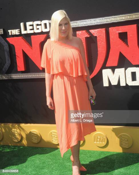 Actress Tori Spelling arrives for the Premiere Of Warner Bros Pictures' 'The LEGO Ninjago Movie' held at Regency Village Theatre on September 16 2017...