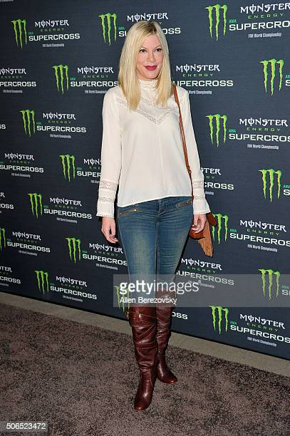 Actress Tori Spelling attends Monster Energy Supercross at Angel Stadium of Anaheim on January 23 2016 in Anaheim California