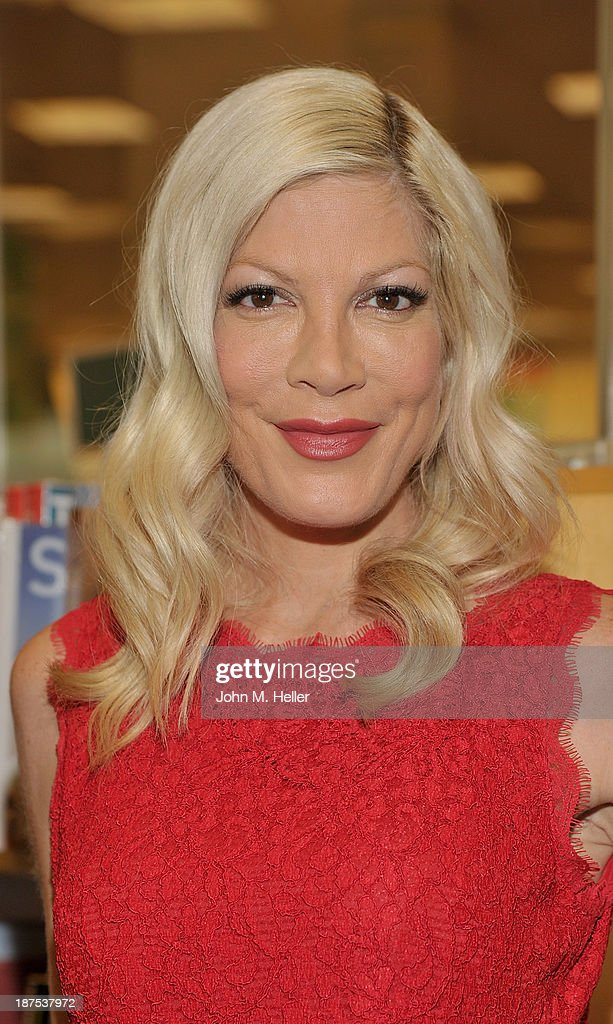 Actress <a gi-track='captionPersonalityLinkClicked' href=/galleries/search?phrase=Tori+Spelling&family=editorial&specificpeople=202560 ng-click='$event.stopPropagation()'>Tori Spelling</a> attends the book signing for her new book 'Spelling It Like It Is' at the Barnes & Noble bookstore at The Grove on November 9, 2013 in Los Angeles, California.