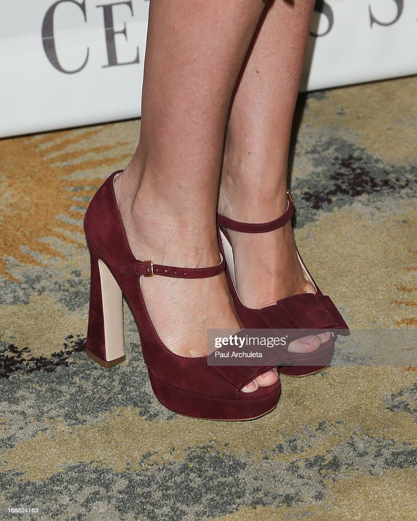Actress <a gi-track='captionPersonalityLinkClicked' href=/galleries/search?phrase=Tori+Spelling&family=editorial&specificpeople=202560 ng-click='$event.stopPropagation()'>Tori Spelling</a> (Shoe Detail) attends the Helping Hand of Los Angeles' 84th annual Mother's Day luncheon at the Beverly Hills Hotel on May 10, 2013 in Beverly Hills, California.