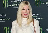 Actress Tori Spelling attends the Monster Energy Supercross at Angel Stadium of Anaheim on January 23 2016 in Anaheim California